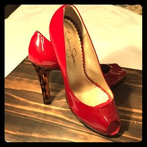 Jessica Simpson red with leopard heels - 8 1/2